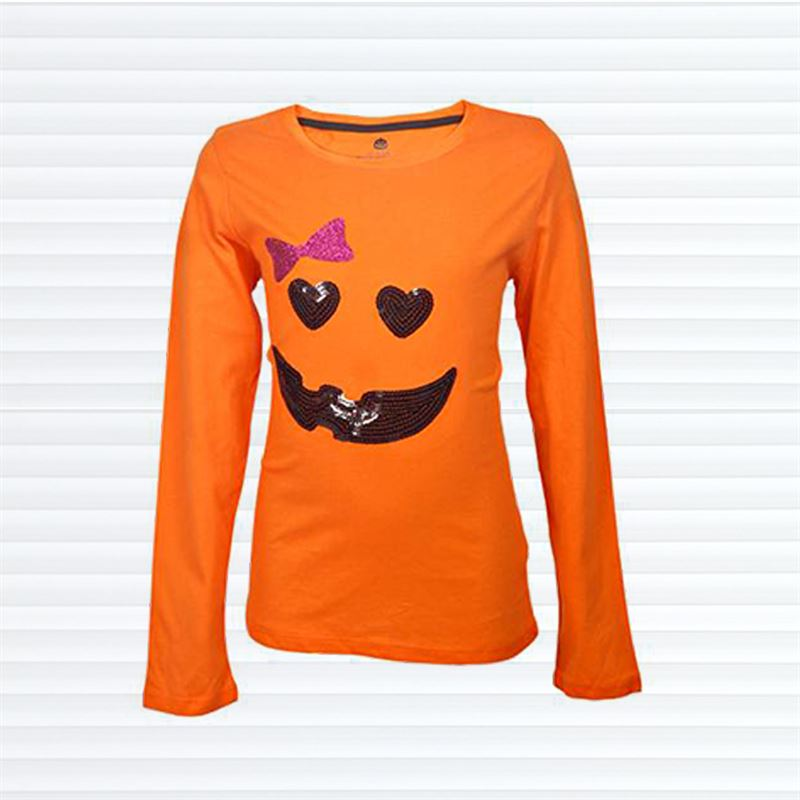 Kids Halloween Orange Full Sleeve T-shirt