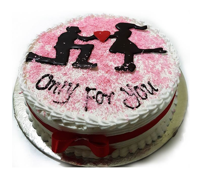 Valentine Round Shaped Red Velvet Cake (1 Kg) from Chef's bakery