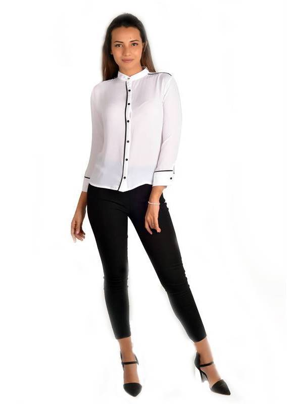 Bella Jones White Long Sleeve Blouse with Contrast Piping-SA032W