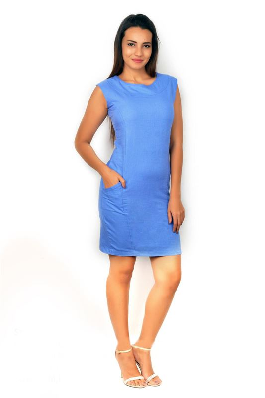 Bella Jones Blue Sleeveless linen Pencil Dress-SA034B