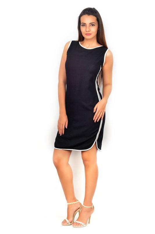 Bella Jones Linen Black Dress with Contrast Piping-SA036B