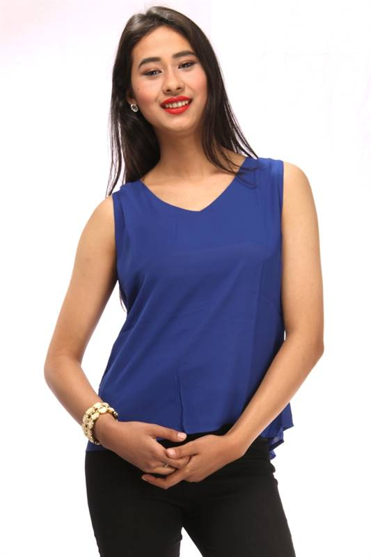 Bella Jones Blue Sleeveless Back Flapped Blouse-SA037