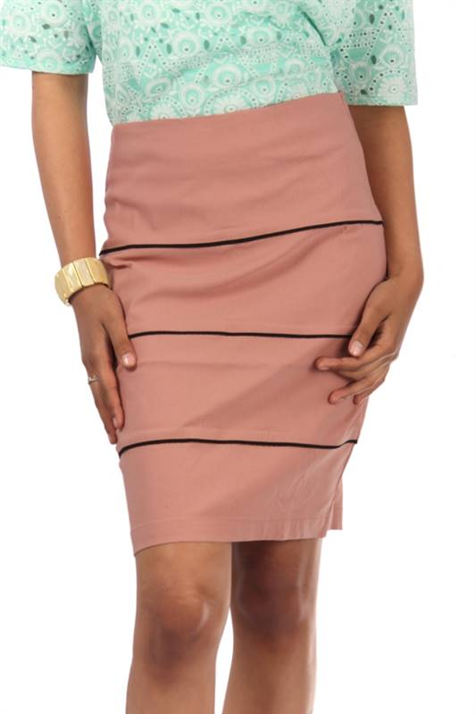 Bella Jones Pink Pencil Skirt with Contrast Piping-SA044P
