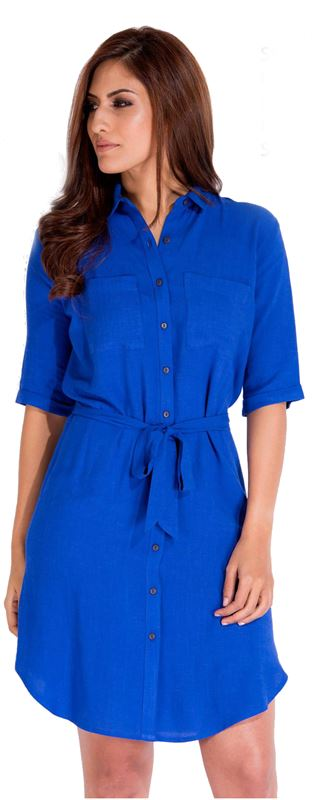 Bella Jones Blue Front Open Dress with Belt-SA052