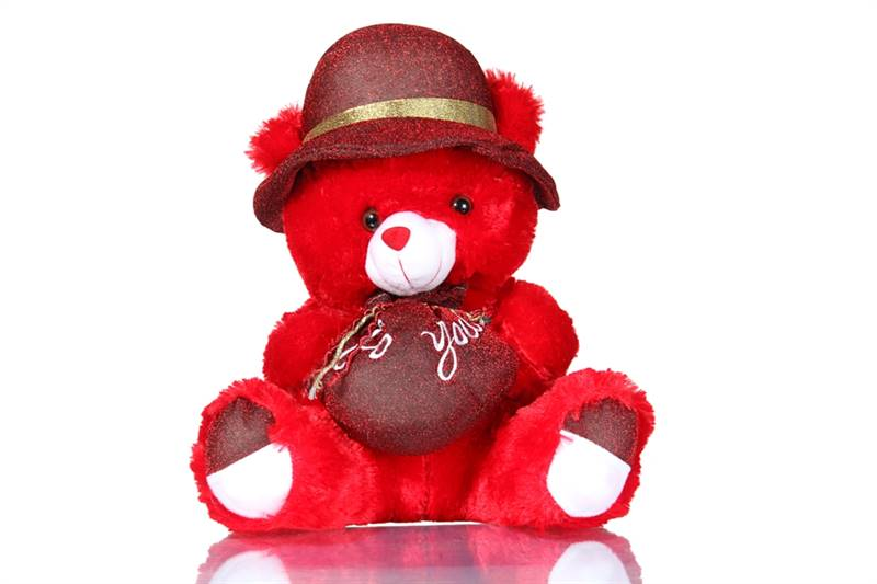Big Red Teddy with Bag (Height 27 inches)