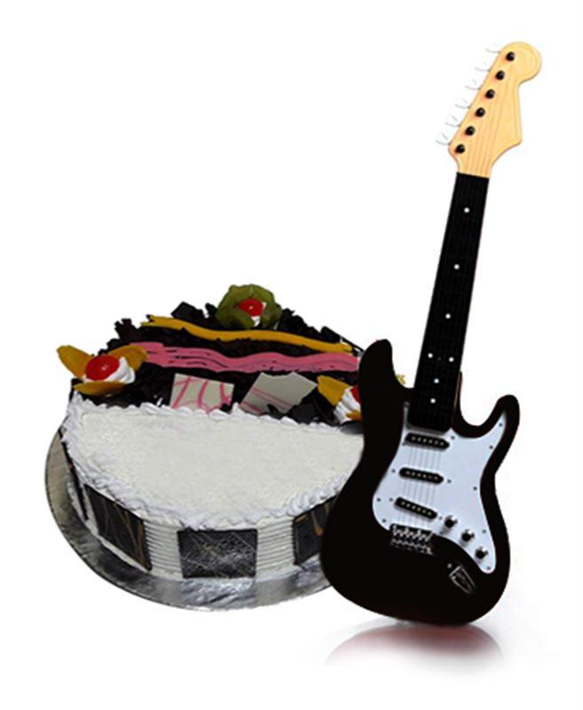 Black Guitar for Kids & Black Forest Cake from Chefs (1 Kg)