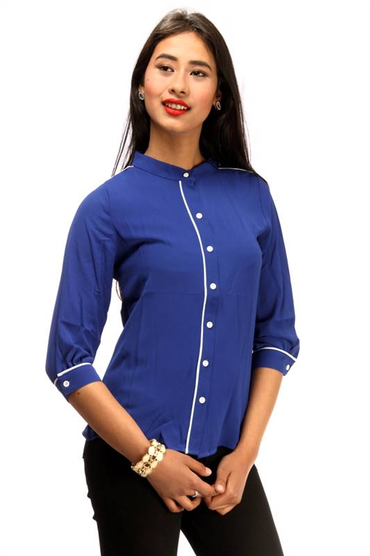 Bella Jones Blue Long Sleeve Blouse with Contrast Piping-SA032B