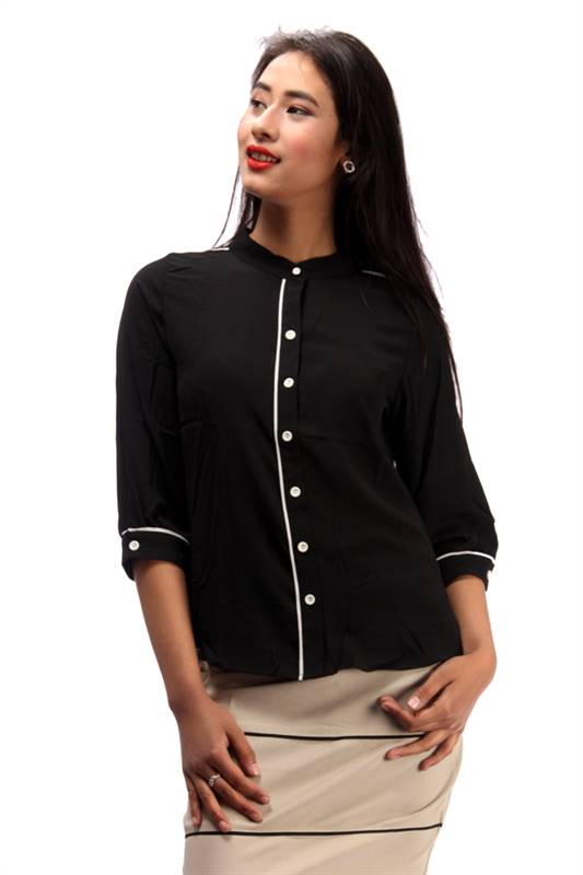 Bella Jones Black Long Sleeve Blouse with Contrast Piping-SA032B