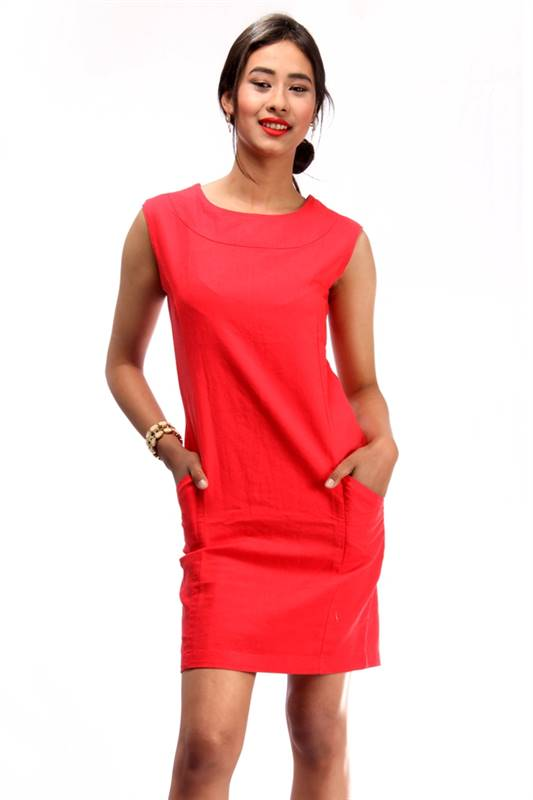 Bella Jones Red Sleeveless linen Pencil Dress-SA034R