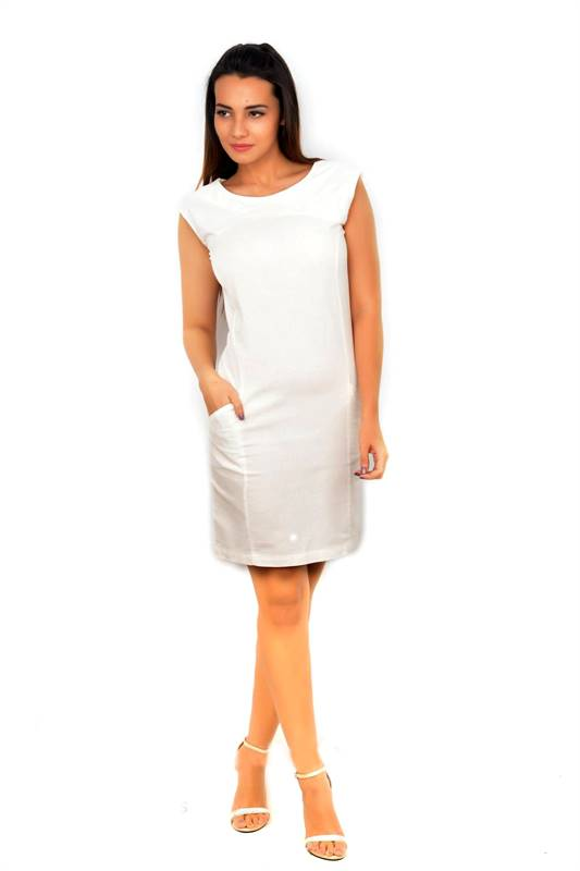 Bella Jones White Sleeveless linen Pencil Dress-SA034W