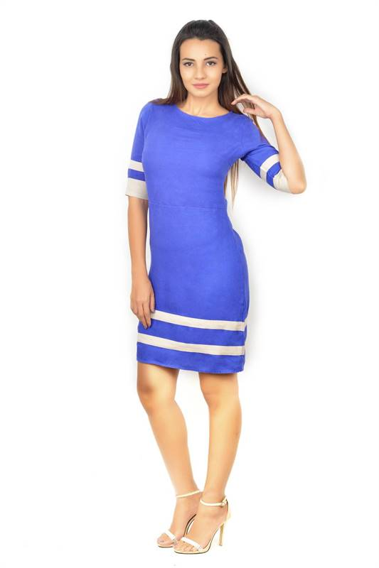 Bella Jones Blue Linen Dress with Contrast Bands-SA035B