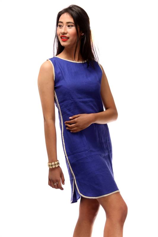 Bella Jones Linen Blue Dress with Contrast Piping-SA036B