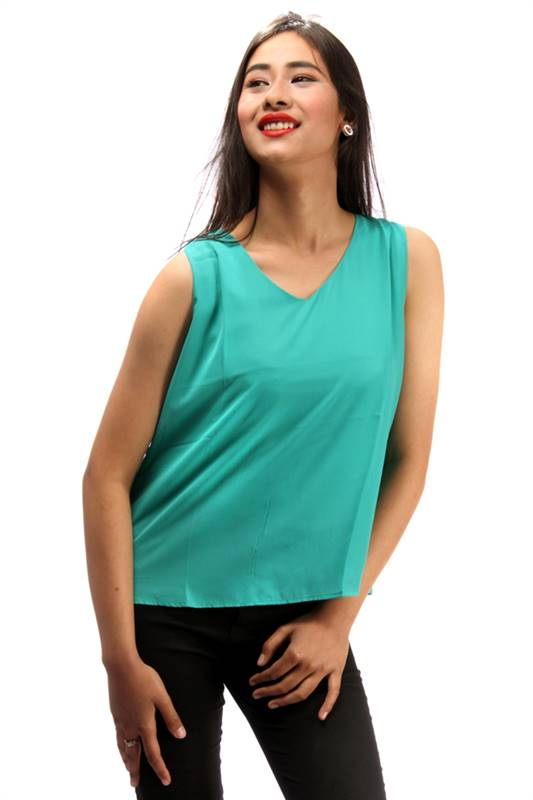 Bella Jones Green Sleeveless Back Flapped Blouse-SA037G