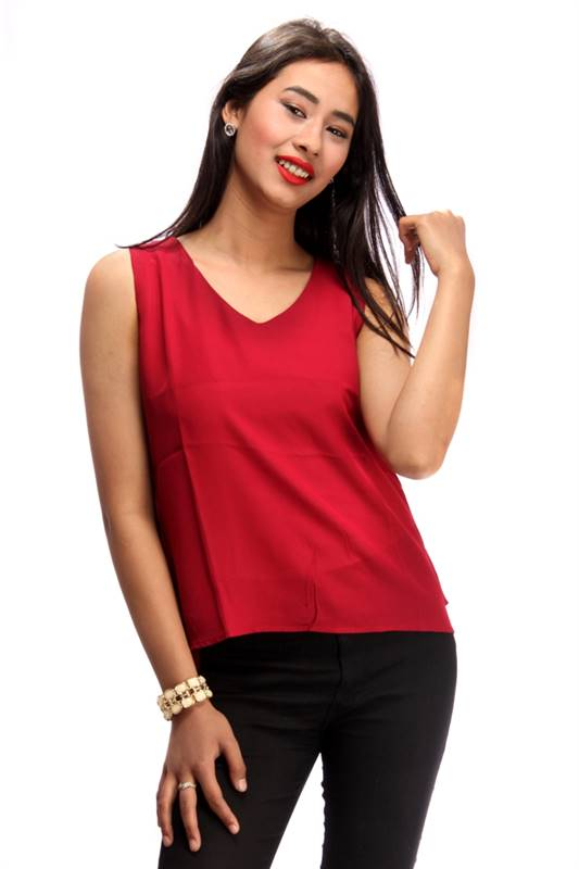 Bella Jones Red Sleeveless Back Flapped Blouse-SA037G