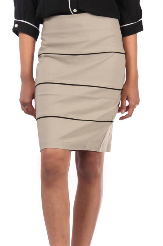 Bella Jones Grey Pencil Skirt with Contrast Piping-SA044G