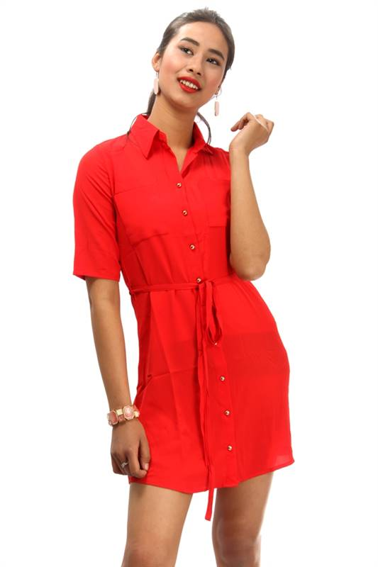 Bella Jones Red Front Open Dress with Belt-SA052R