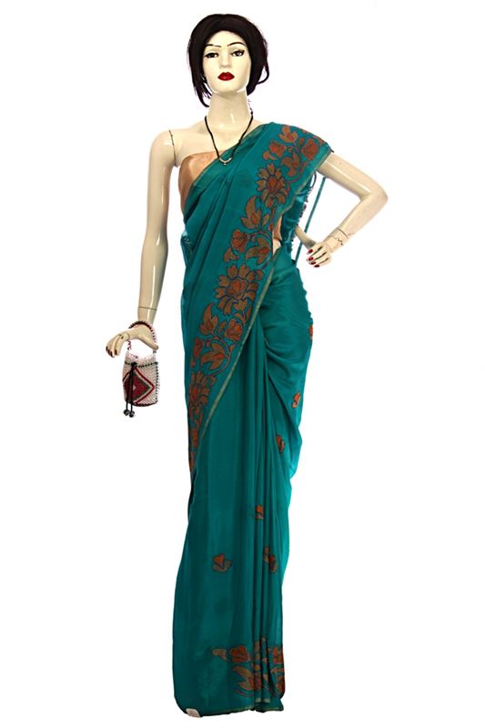 Green Hand loomed saree