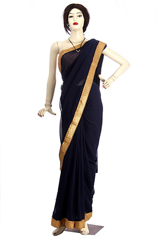 Designer Navy Blue Saree