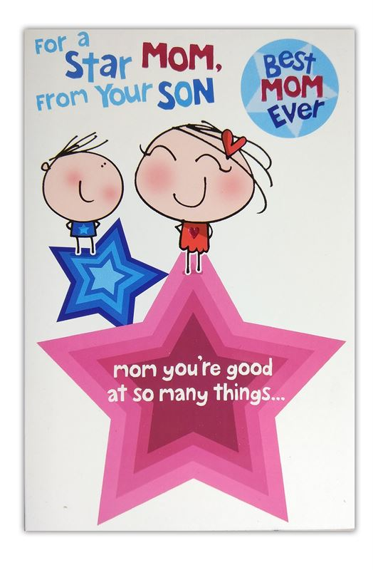 For a Star Mom, From Your Son Card