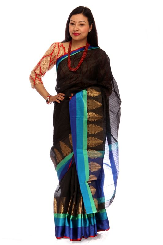 Plain Raw Silk Saree With Zari Weaved Patterns And Satin Silk Border - SareeALY-1