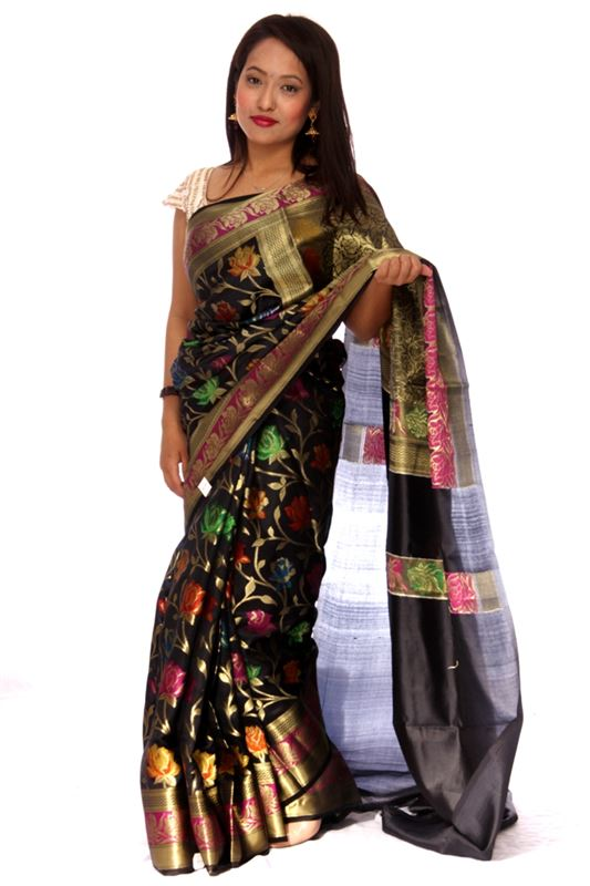 100% Silk Saree With Zari Weaved Pattern And Zari Weaved Border. From Banaras - SareeOLYY-1