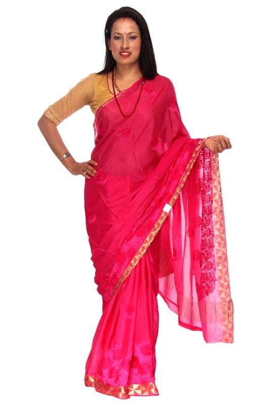 Plain Chinnon Silk Saree With Thread Embroidery And Zari Weaved Border - SareeONWW-2