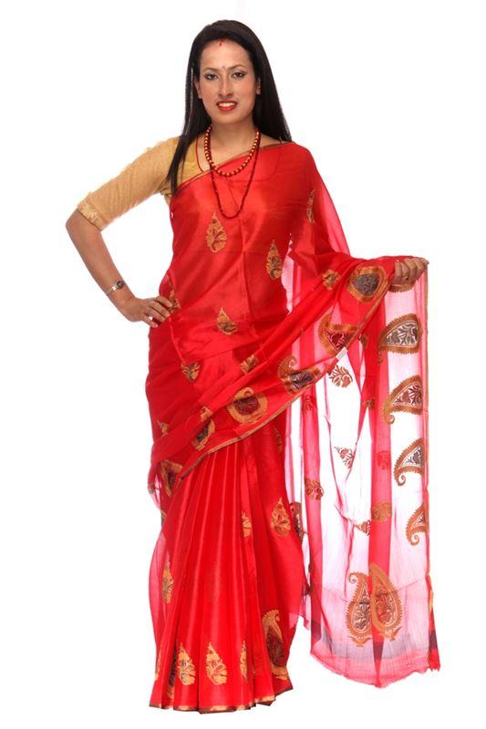 Plain Chinnon Silk Saree With Thread And Zari Embroidery And Zari Weaved Border - SareeOWWY-2