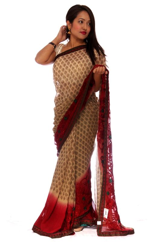 Plain georgette Saree with thread embroidery work and lace border - SareeBYED-1