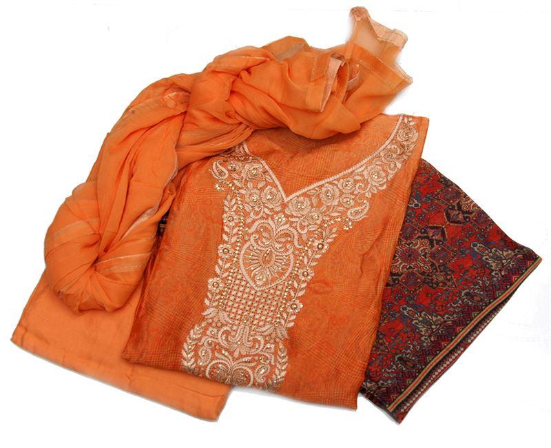 Chinon silk kurta with embroidery work around the neck. Printed salwar and plain chiffon shawl - NivaKurta1-3