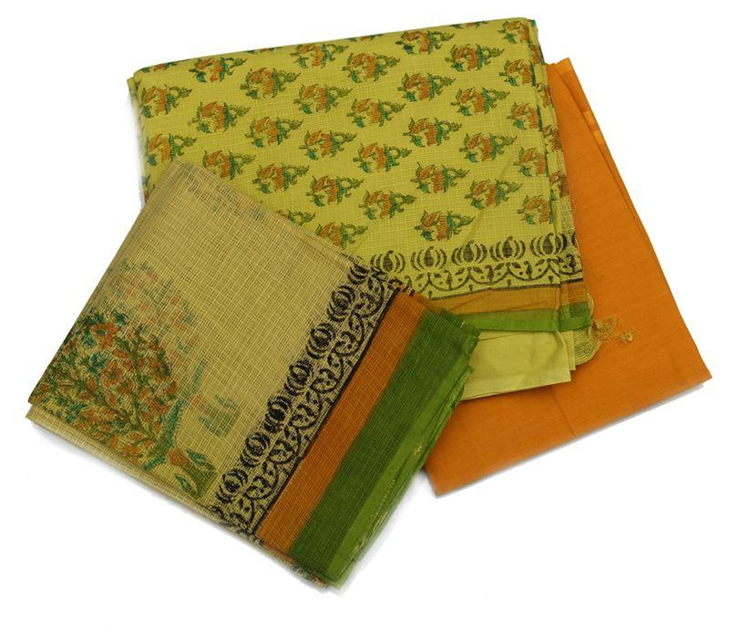 Printed munga (net) cotton kurta. Contrast salwar. Matching lining. Printed munga (net) cotton shawl - NivaKurta9-1