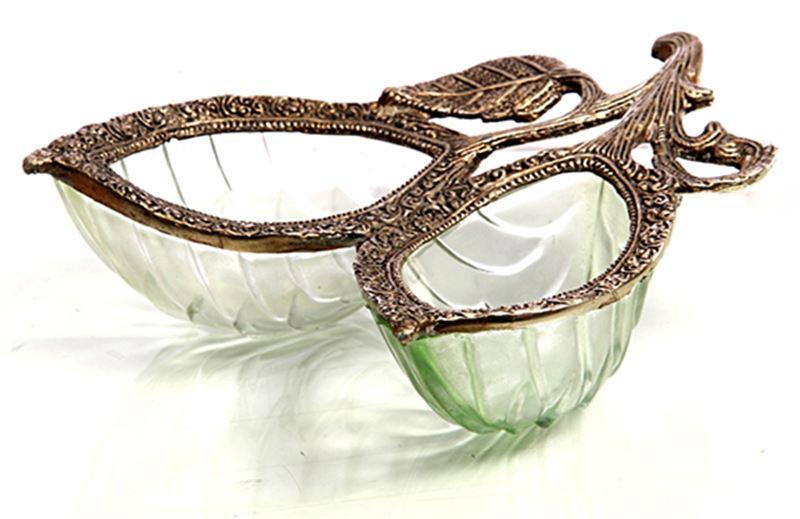 2 Glass Diyas with Brass Rim