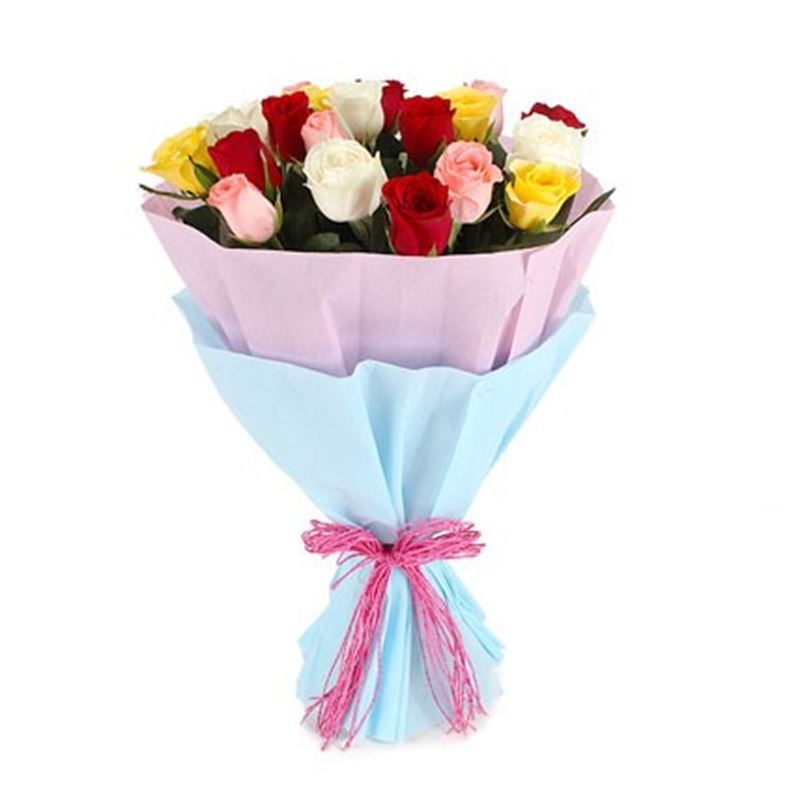 20 Mix Roses with Blue and Pink Paper Packing by FNP