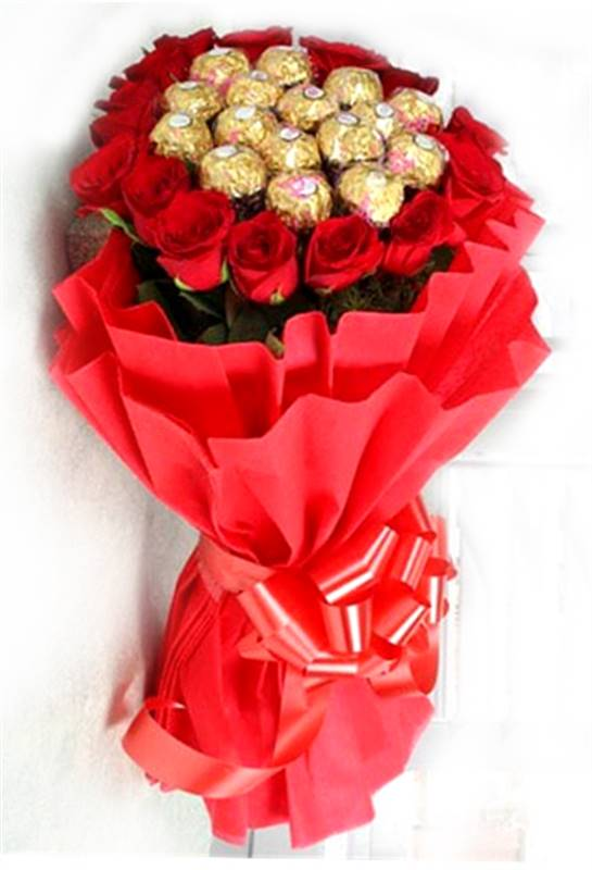 20 Red Roses with Chocolates in a Paper Packing by FNP