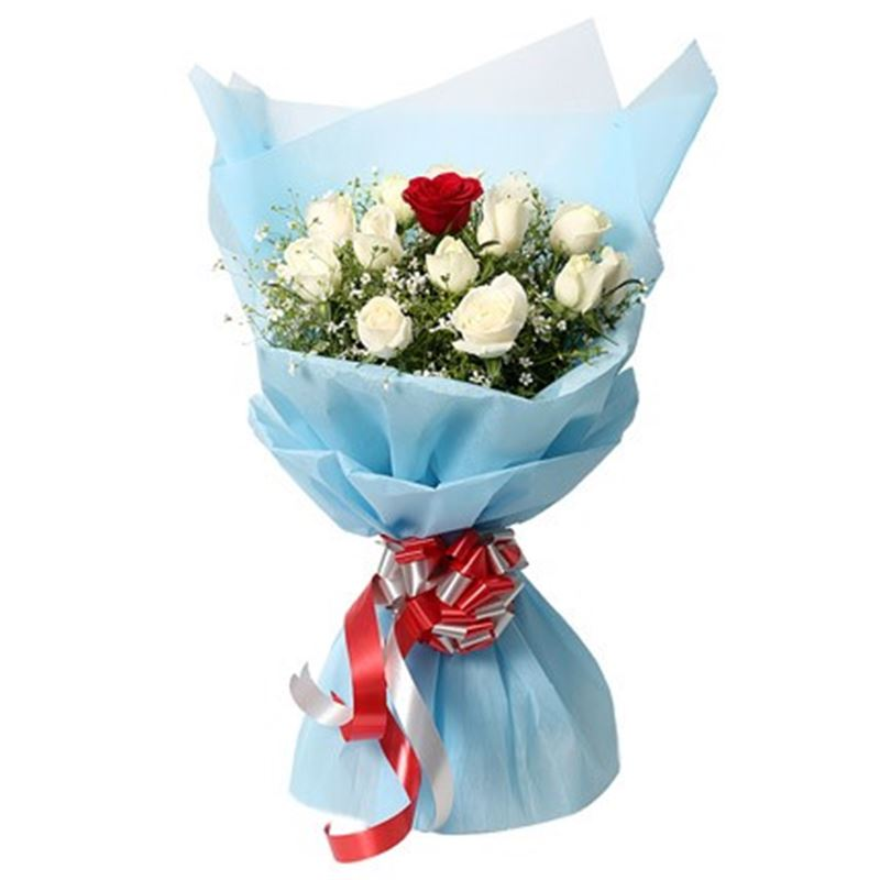 White and 1 Red Roses with Blue Non Woven Packing by FNP