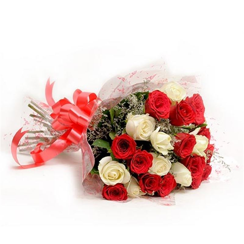 10 White and 10 Red Roses with Cellophane Packing by FNP