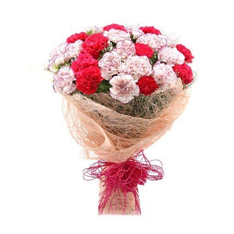 25 Mix Carnations with Pink Paper Packing by FNP
