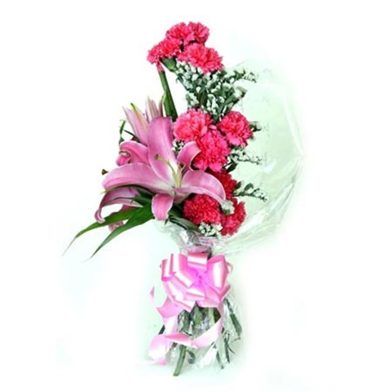 10 Carnations and 2 Lilies with Stylish Packing by FNP