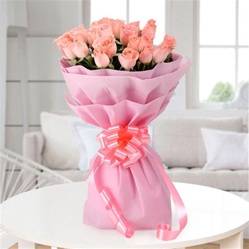 20 Pink Roses with Pink Paper Packing by FNP