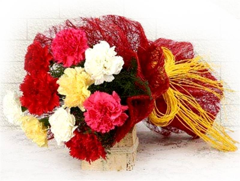10 Mix Carnations with Jute Packing by FNP