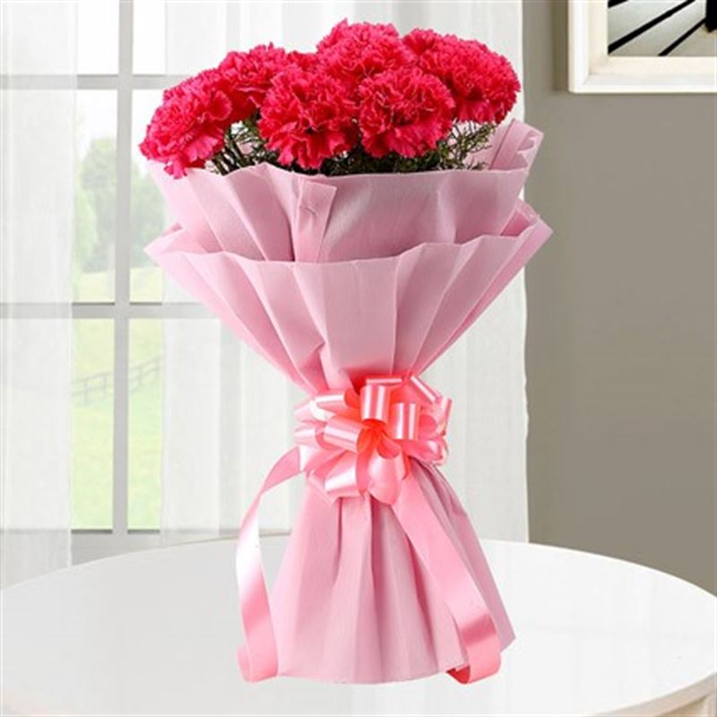 10 Pink Carnations with Pink Paper Packing by FNP