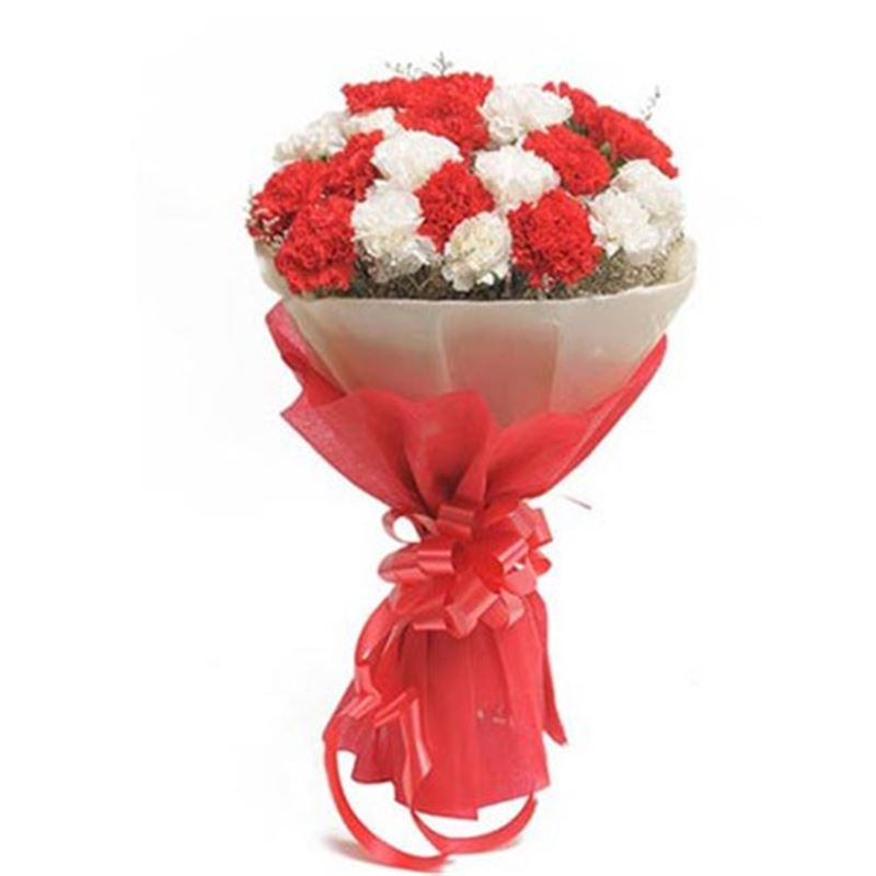 20 Red and White Carnations with Pink Paper Packing by FNP
