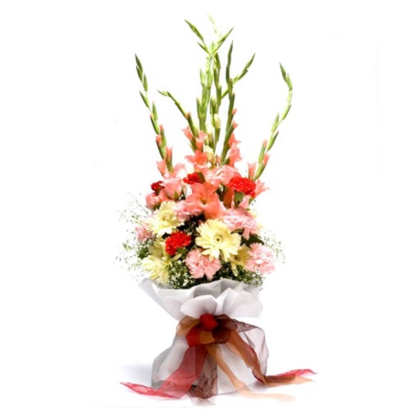 6 Gladioli, 10 Carnations and 4 Gerberas with White Paper Packing by FNP