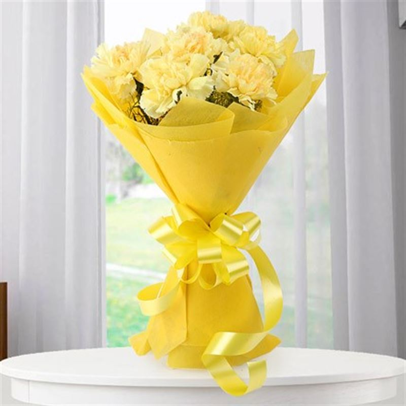 10 Yellow Carnations with Yellow Paper Packing by FNP
