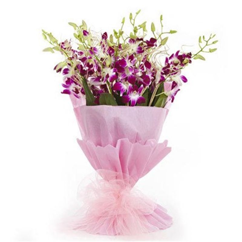 10 Orchids with Pink Paper Packing by FNP