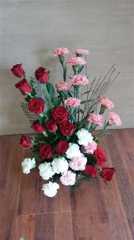 14 Rose and 18 Carnations in a Basket by FNP