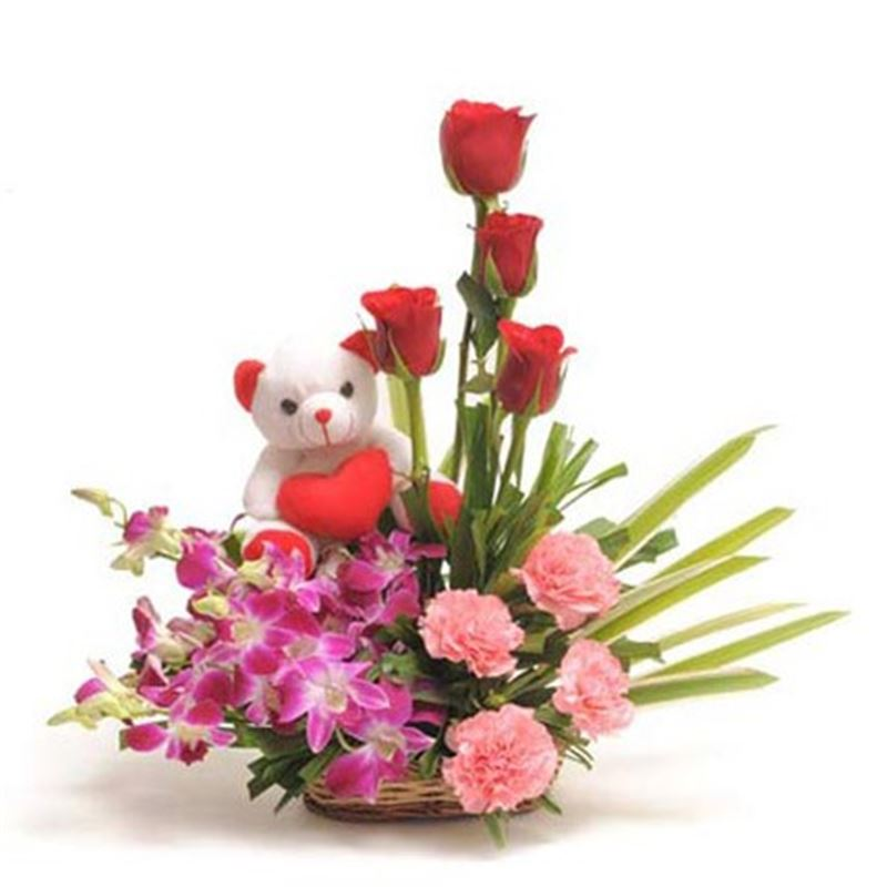 4 Roses, 4 Carnations, 6 Orchids with Teddy in a Basket by FNP