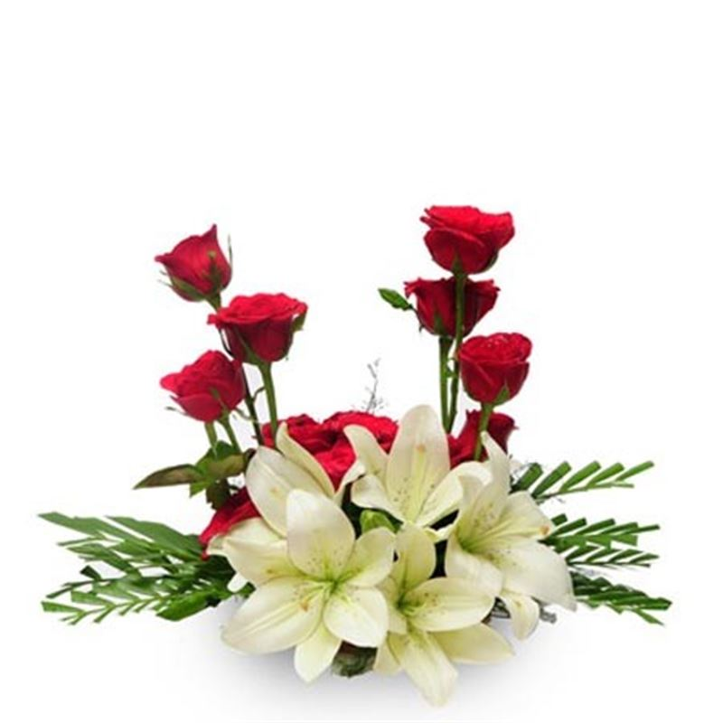 15 Red Roses and 3 Lilies in a Basket by FNP