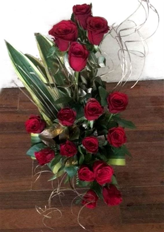 16 Red Roses in a Basket by FNP
