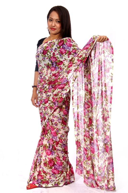 Printed Chiffon Saree - SareeNiva-08-1