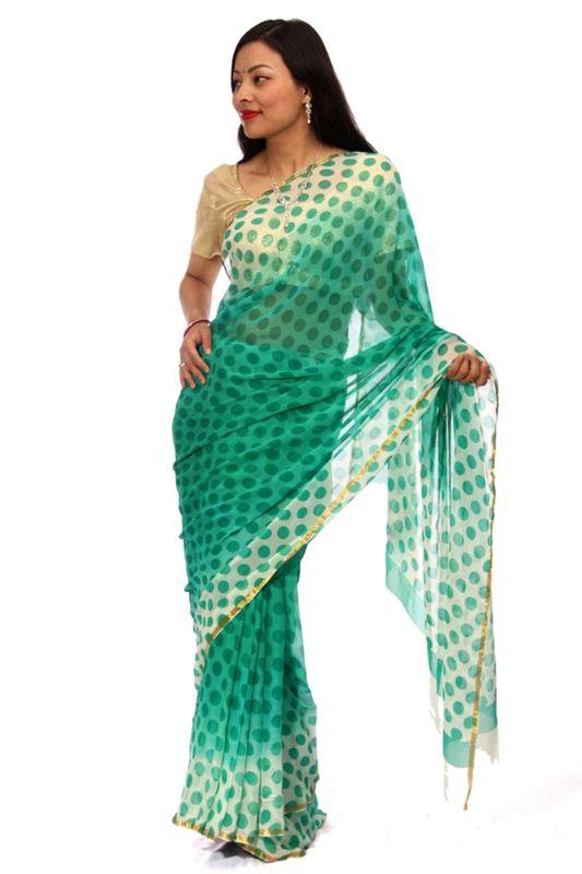 Plain Chiffon Sari with Golden Zari Border - SareeNiva-04-B